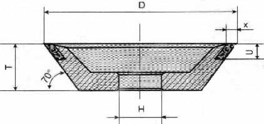 Круг алмазный чашечный  11 V9 с углом 70°  4-0101