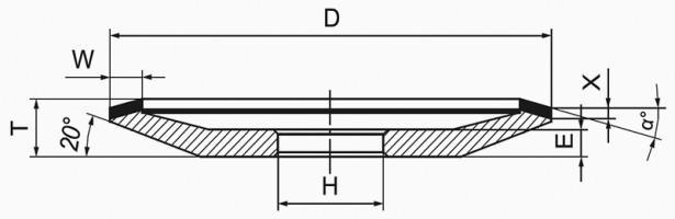 Круг алмазный шлифовальный 12V5 тарельчатый с углом 20° 5-0086-АС4