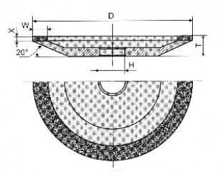 Круг алмазный шлифовальный тарельчатый  12А2 с углом 20° 5-0006
