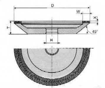 Круг алмазный  12А2-45° 4-0017