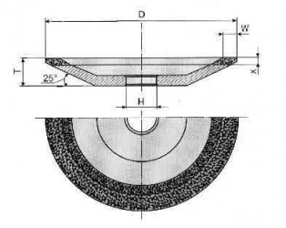 Круг алмазный шлифовальный тарельчатый 12R4 5-0044