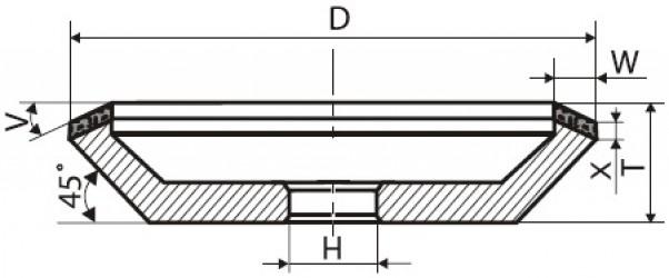 Круг алмазный шлифовальный 12V9 с углом 45° 4-0125-АС6