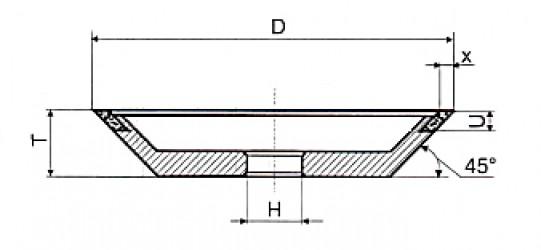 Круг алмазный шлифовальный 12V9-45 специальный чашечный конический 9-3107-АСН