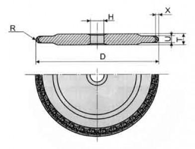 Круги алмазные шлифовальные с полукругло-выпуклым профилем специальные формы 14FF1