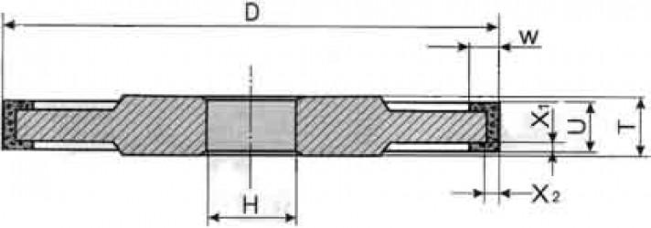 Круг алмазный прямой трехсторонней формы 14U1 0-0222