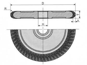 Круги алмазные шлифовальные плоские с полукругло-выпуклым  профилем формы 1FF1