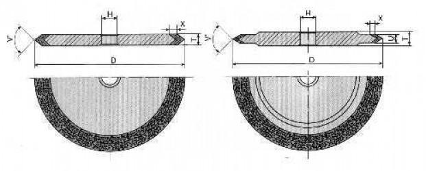 Круг алмазный шлифовальный плоский с полукругло-выпуклым профилем формы 1FF1 9-0030