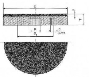 Круг алмазный плоский формы 6А2Т 3-0205