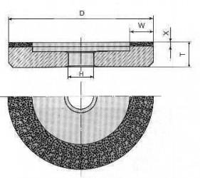 Круг алмазный шлифовальный плоский с выточкой формы 6А23-0039